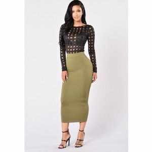 NEW Fashion Nova Olive Green Pencil Skirt - Medium